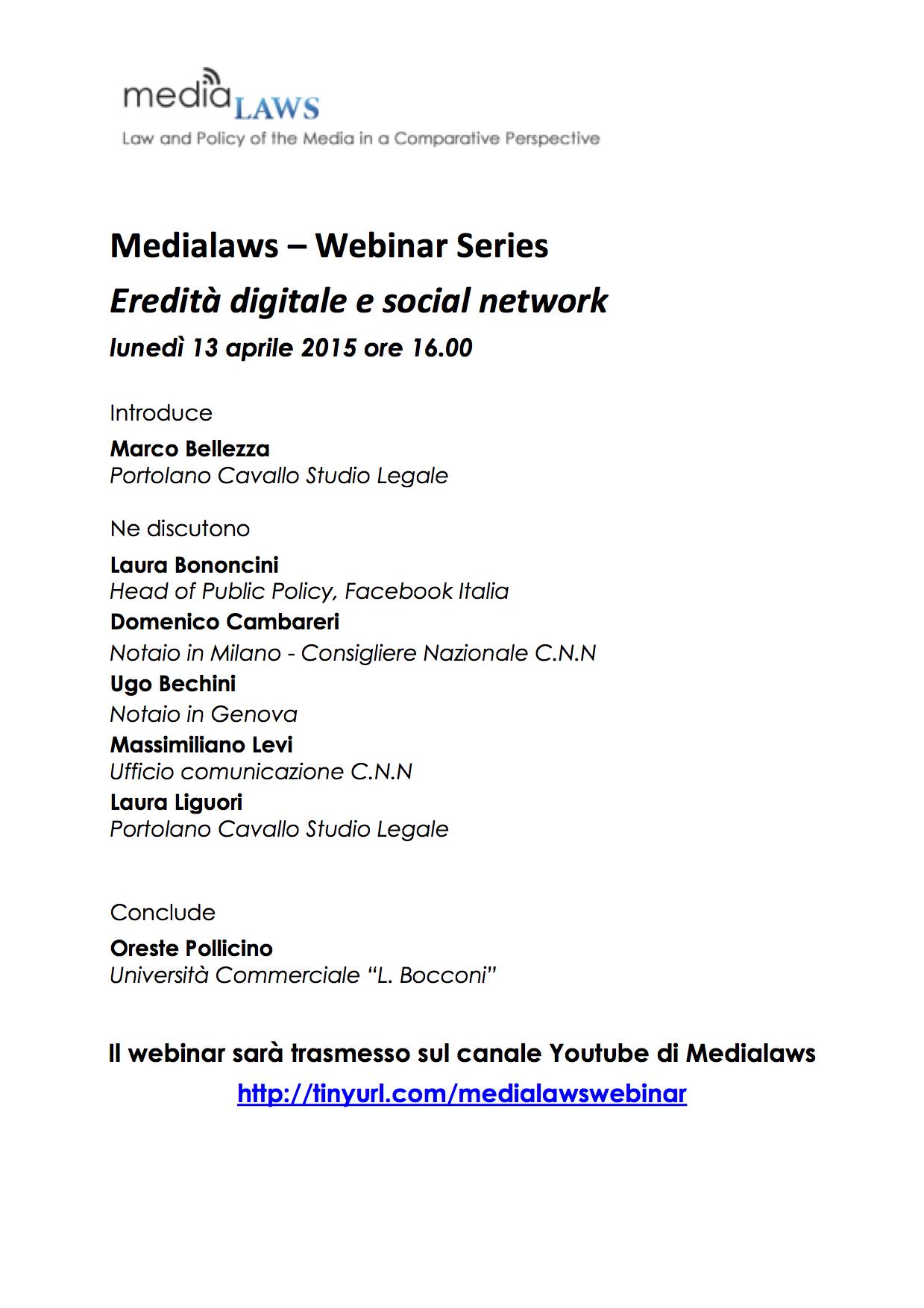 Locandina 13 aprile Medialaws