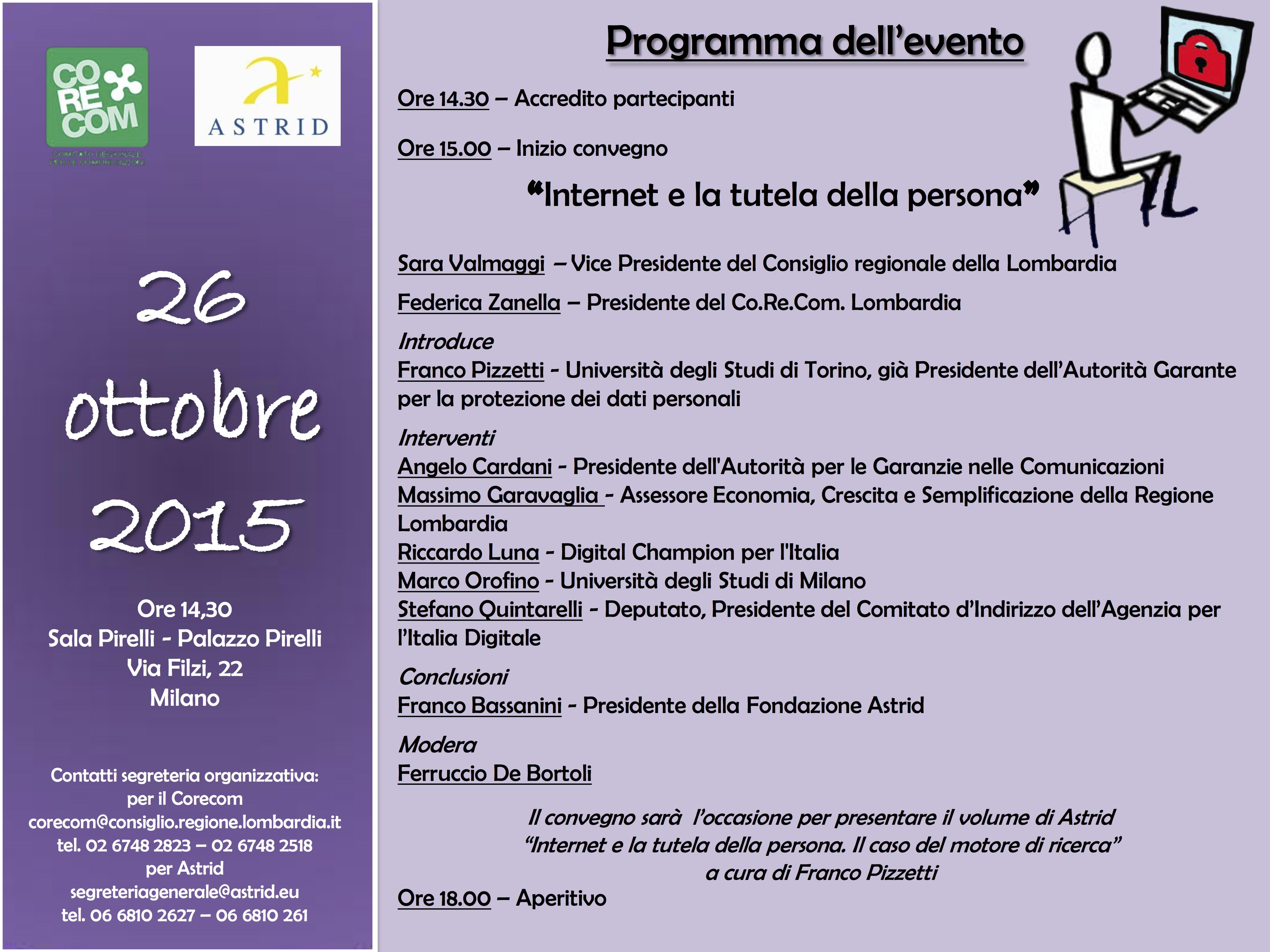 programma 26 OTTOBRE - internet e la tutela della persona