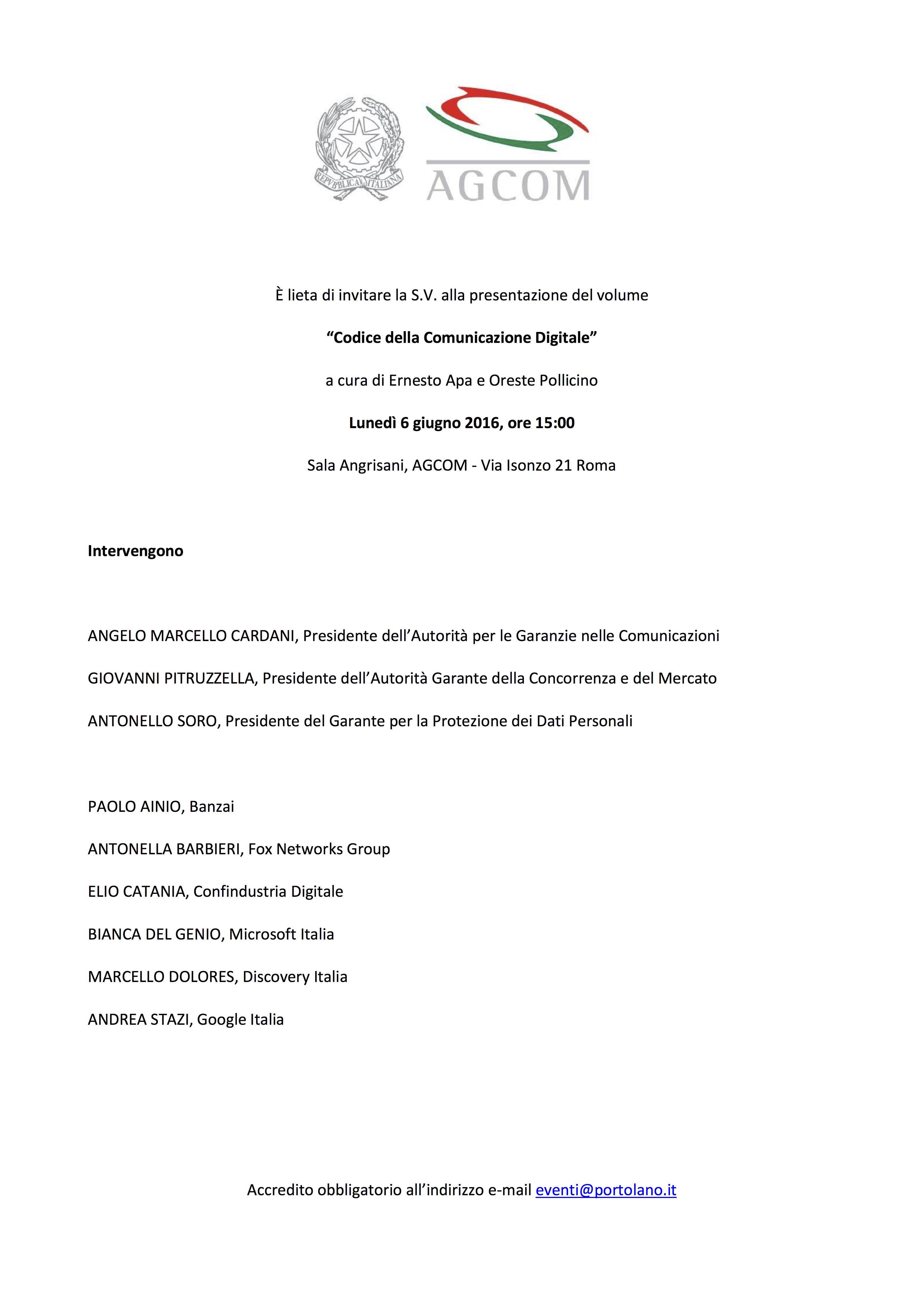 Presentazione volume - Codice della Comunicazione Digitale - Roma 6 giugno 2016